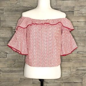 Zara red and white off-shoulder blouse
